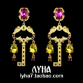 8cm*3.3cm big jewelry DG rose red Earrings key shape Baroque Europe Vintage Baroque Style Vintage Color high-grade Palace Retro