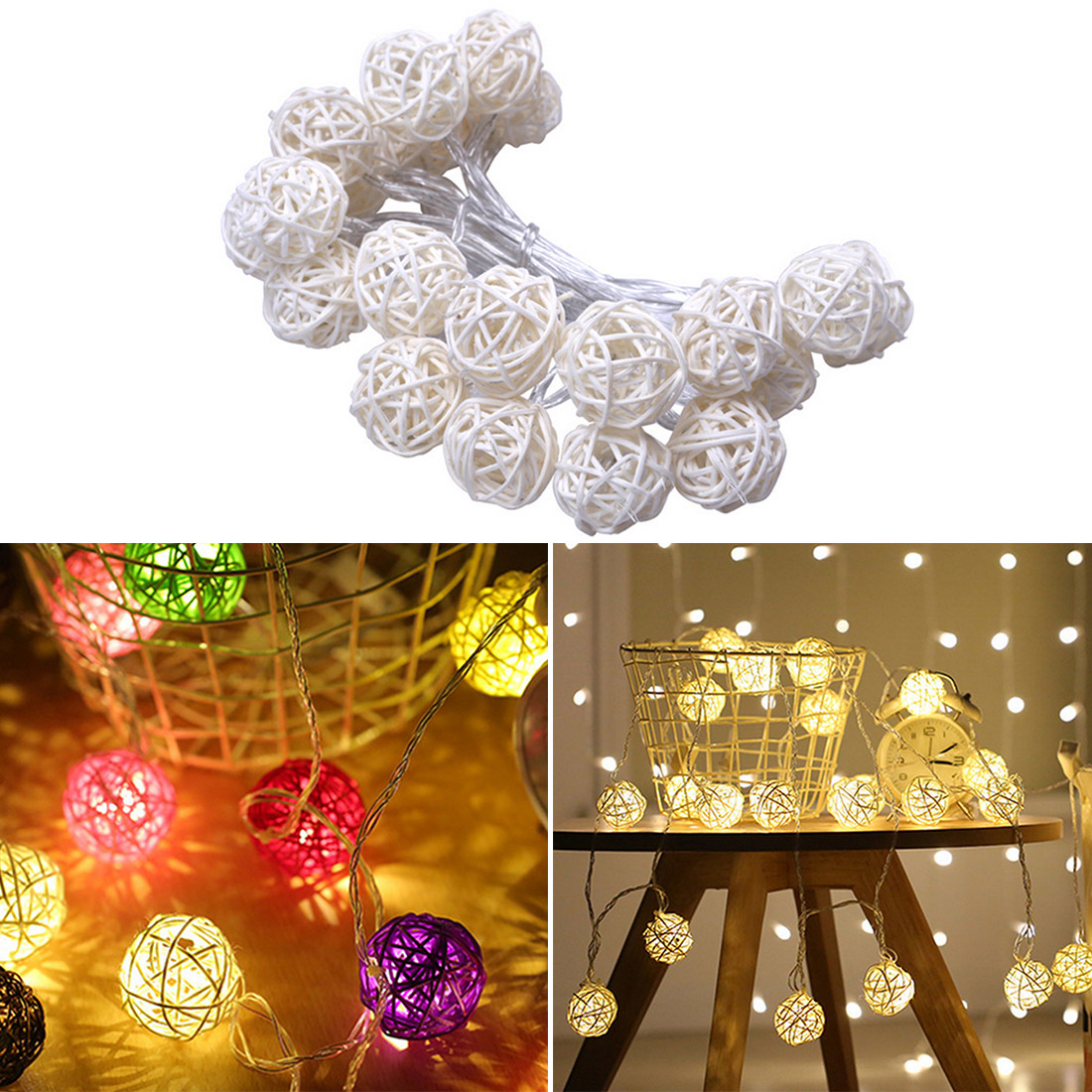 5mm Led Rattan Balls Fairy String Decorative Lights Battery Operated Christmas Outdoor Patio Garland Wedding Decoration цена