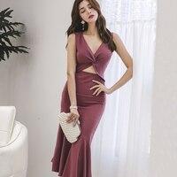 2019 New Summer dress Slim Women Sexy Long Waist Fishtail Gown Dresses Skin Pink 1866