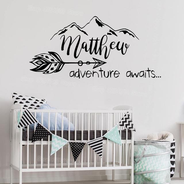 Boho Arrow Wall Decal Nursery Adventure Awaits Stickers Quote Mountain Personalized Baby Name Decals Rustic