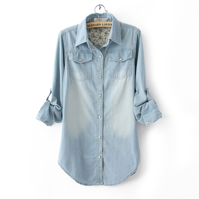 b3d6279b Petite Girl Long Sleeve Washed Women Denim Shirt Light Blue Colored Coat  For Woman Jean Jacket XXXL Slim Mori Girl Style 2016