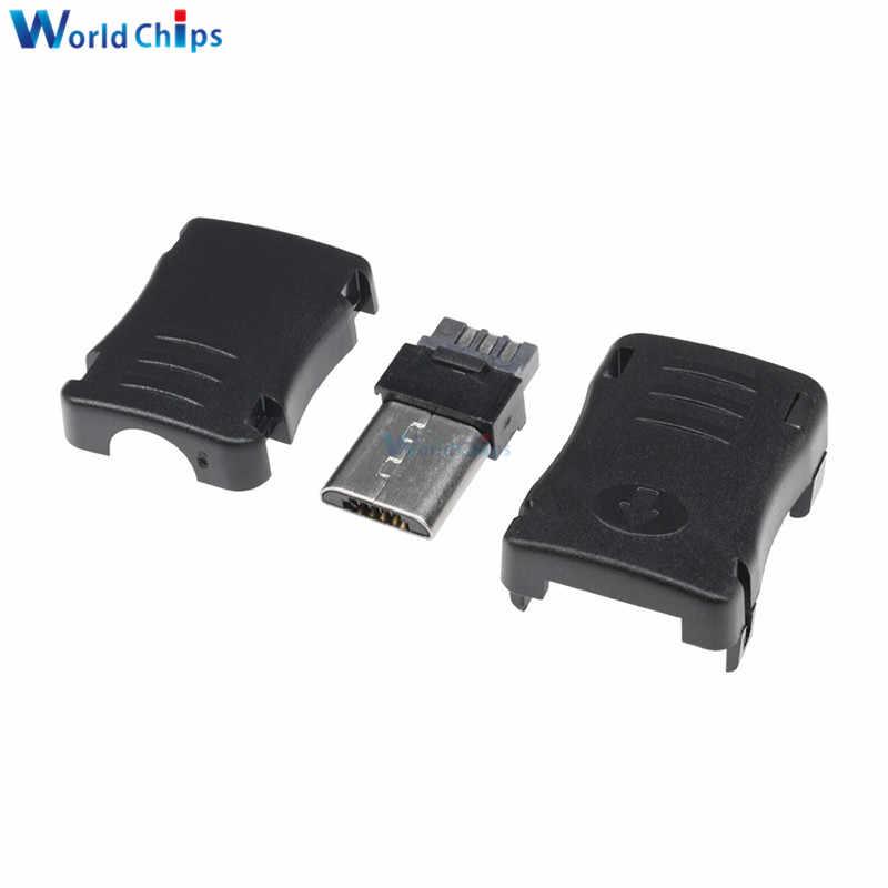 100 PCS DIY Micro USB 5 Pin T Port Male Plug Socket Connector