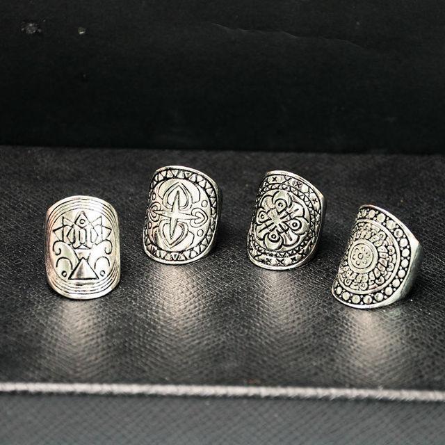 Tibetan Carved Ring Set Silver Symbolic