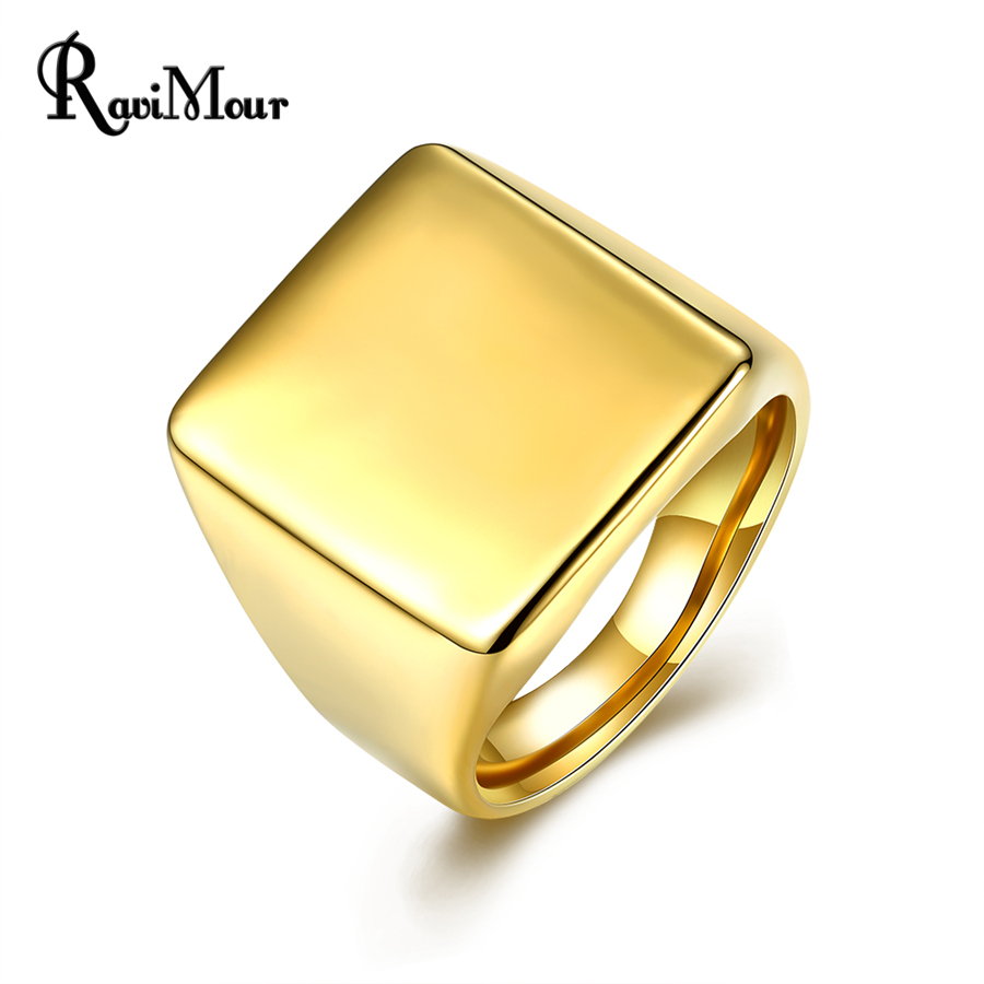 RAVIMOUR Punk Mens Ring Yellow Gold Color Fashion 316L Stainless Steel Rings Men Jewelry Wedding Engagement Anillos Hombre