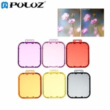 6 in 1 for GoPro HERO5 Sport Action Camera Proffesional Colorized Lens Filter(Red + Yellow + Purple + Pink + Orange + Grey)