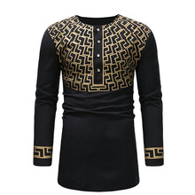 2019 new fashion mens wear large casual medium and long print sleeve T-shirt