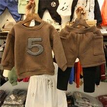 Осенне-зимняя детская одежда, комплект одежды из 2 шт. для детей 2-8 лет, зимняя одежда для маленьких девочек, костюмы, топы и штаны, детский спортивный костюм