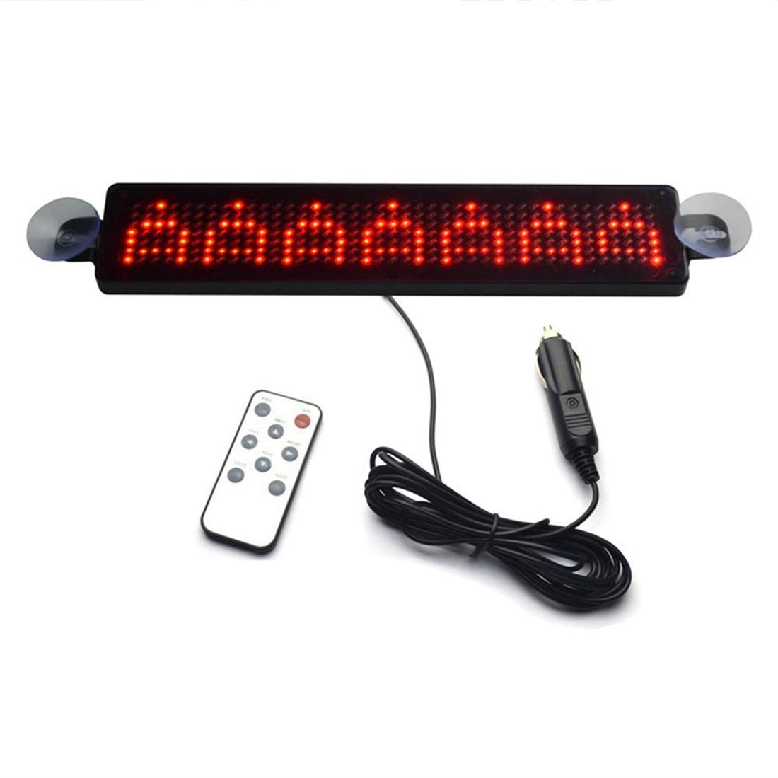 12V Car LED Programmable Message Sign Scrolling Display Board with Remote (Red)