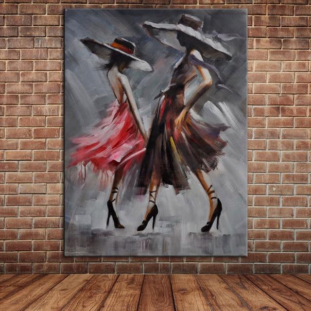 Pop Art Tanzenden Frauen Bunte Ölgemälde Mädchenakt Leinwand Kunst ...