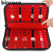 Bincoco Reloj Pantalla de tela de Alta calidad bolsas de Ranura Caja de Joyería Reloj Reloj Bandeja de almacenamiento Organizador caja bolsa venta caliente mostrar caja