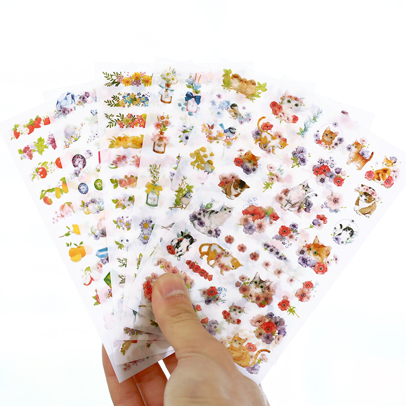 6pcs/lot Cute Cats Flowers Cartoon Animals Decoration Sticker Pvc Cartoon Stickers Diary Sticker Scrapbook Stationery Stickers