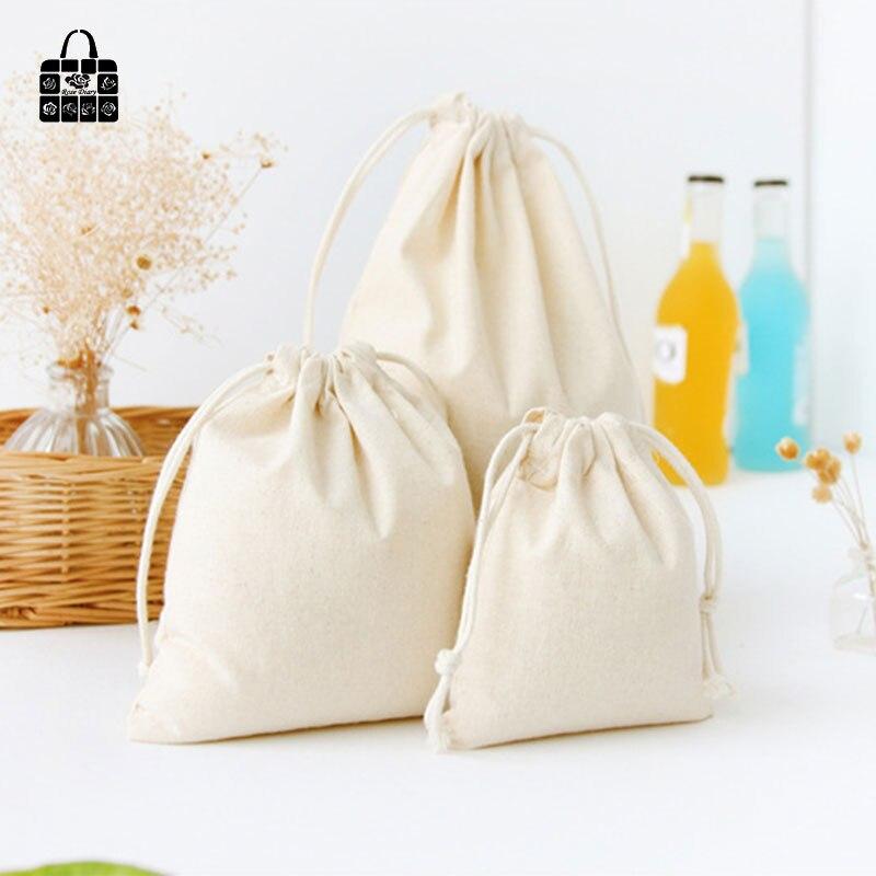 Pure Color Print Cotton Linen Fabric Dust Cloth Bag Clothes Socksunderwear Shoes Receive Bag