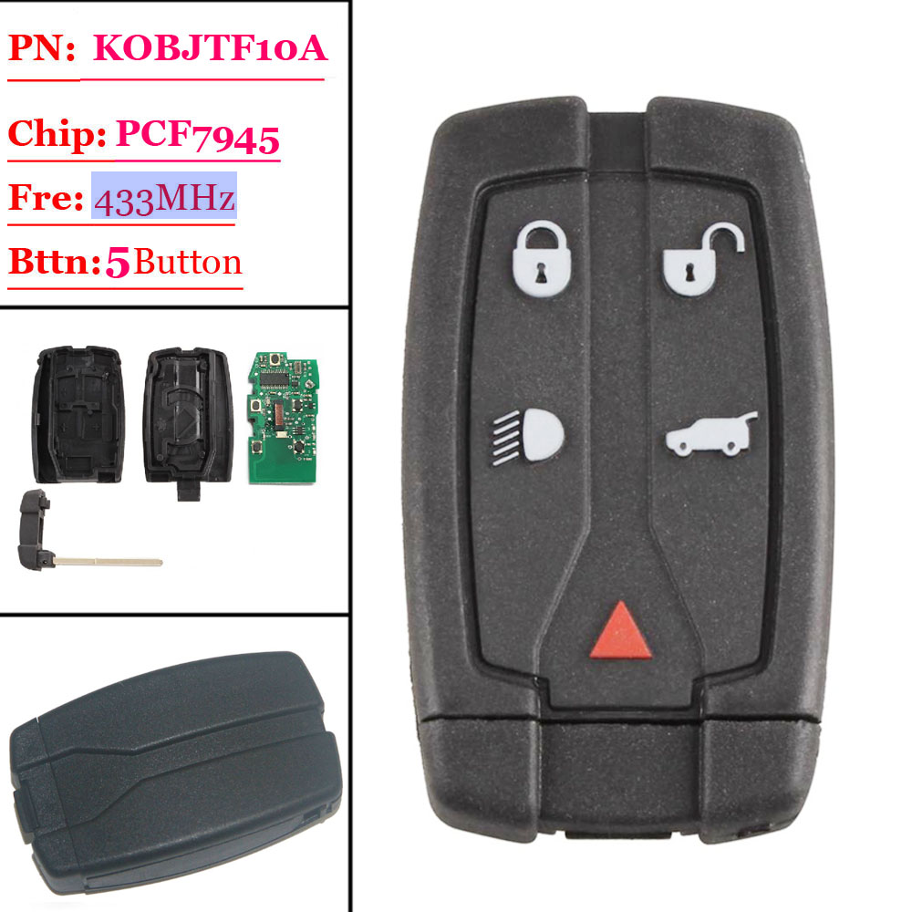 Big Discount(1 Piece) 4+1 Button Remote Key Card With 433MHZ FOR Land Rover Freelander 2  2006 2007 2008 2009 2010