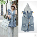 Detachable hood sleeveless denim vest women's fashion zipper hooded letter printed vest free shipping