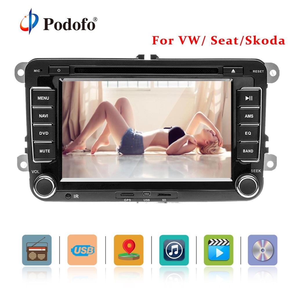 Podofo 2 Din 7 ''Car DVD Player GPS di Navigazione Bluetooth IPOD Radio FM RDS Mappa per Volkswagen/Passat /POLO/GOLF/Skoda/Sede