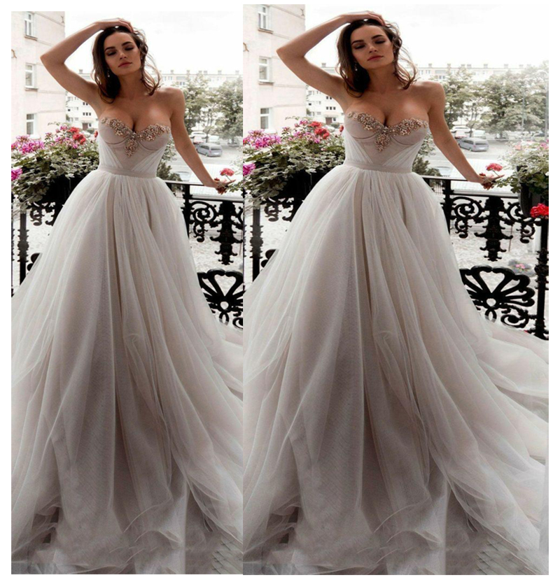 Wedding Dress Strapless Bride Elegant Gowns 2018 Simple Bridal Gown