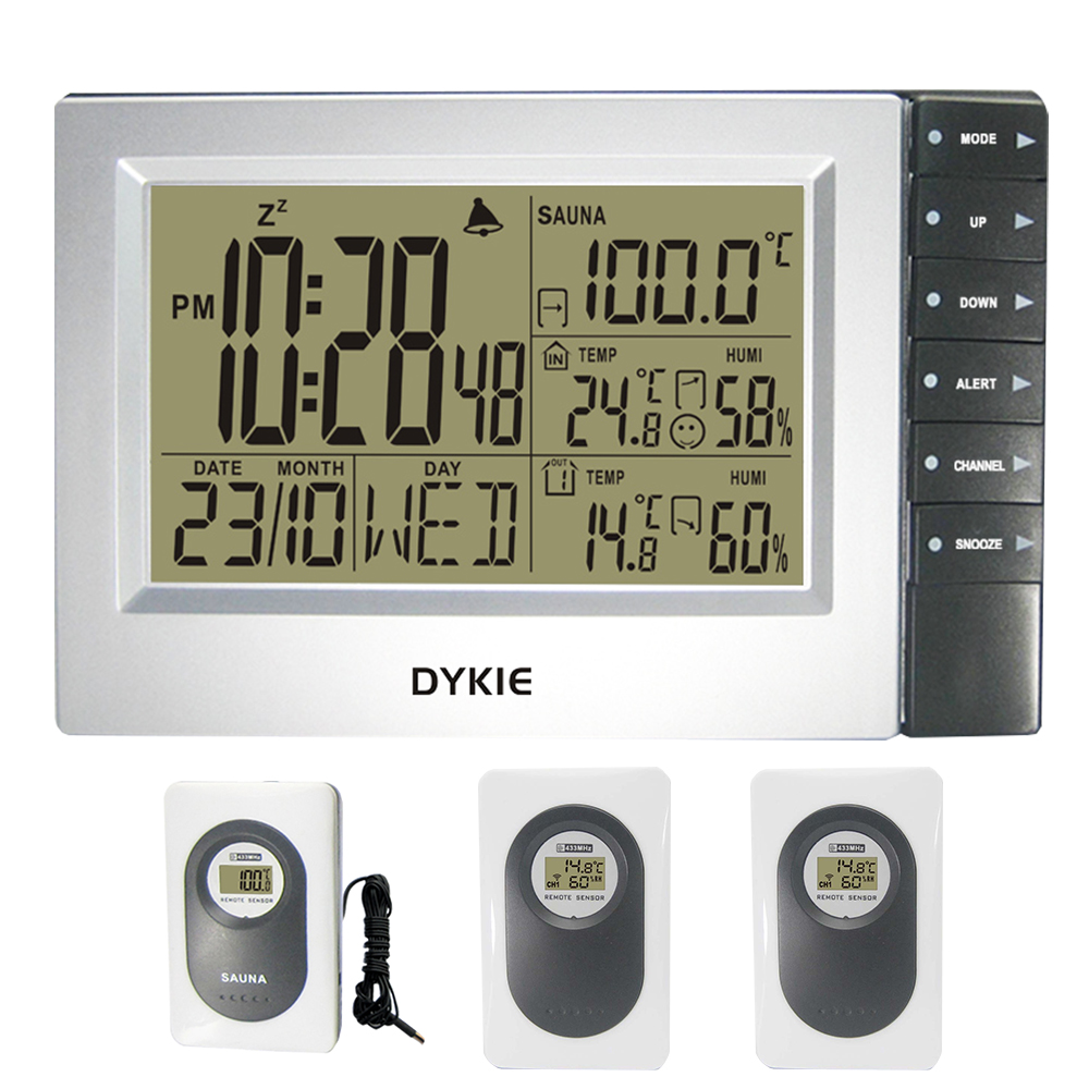 DYKIE Digital Weather Station Wireless with Indoor Outdoor Hygrometer Sauna Temperature Digital Alarm Clock 3 Transmitters все цены
