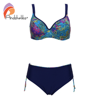 Andzhelika Plus Size Swimwear 2017 New Sexy Bikinis Women Swimwear Print Retro Female Bikini Set Beach