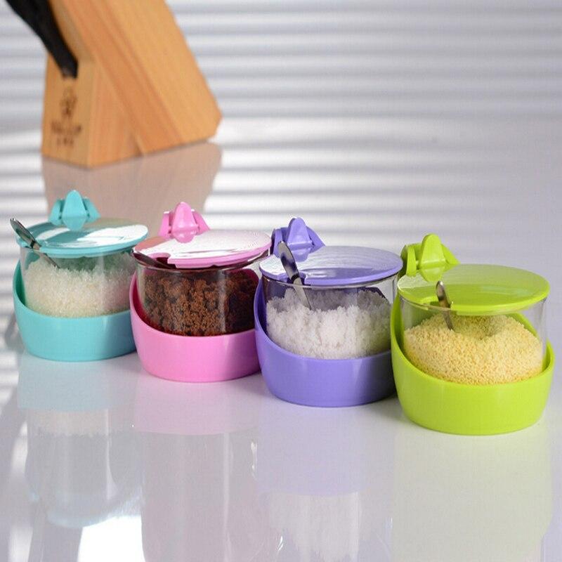 4 pièces par ensemble bouteille de poivre quatre couleurs mélange sans plomb verre pot de stockage d'épices avec cuillère livraison gratuite