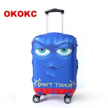 OKOKC Cartoon twarz elastyczna Travel bagaż walizka ochronna pokrywa do zastosowania do 19-32 walizka okładka Akcesoria podróżne tanie tanio W OKOKC Poliester Odbitki zwierzęce Pokrowiec na bagaż W0012 82cm 57cm 0 25 kg 35cm
