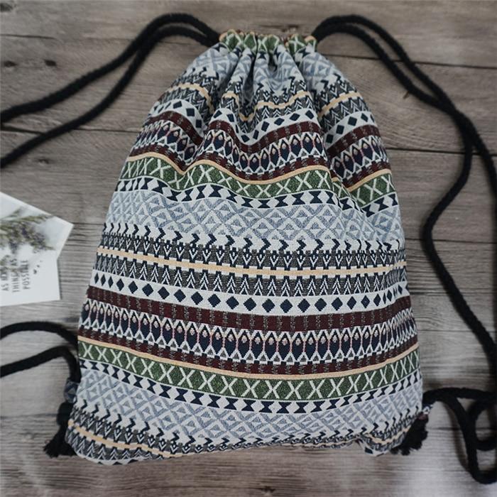 HTB1BTjSdpGWBuNjy0Fbq6z4sXXaN LilyHood Women Fabric Backpack Female Gypsy Bohemian Boho Chic Aztec Ibiza Tribal Ethnic Ibiza Brown Drawstring Rucksack Bags
