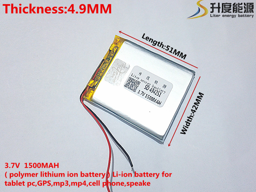 best battery brand 494251 3.7V 1500mAh lithium polymer battery MP3 MP4 navigation instruments small toys and other products Univ 3 7v lithium polymer battery 584070 2400mah electronic products built