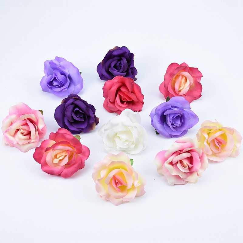 Artificial flowers 7cm Cheap Silk roses flowers wall Handmade diy scrapbooking wedding home decoration accessories fake plants