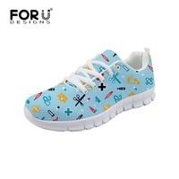 e46d425fa FORUDESIGNS Women Shoes Sneakers Hospital Dentist Nurse Doctor Casual Shoes  Harajuku Mesh Lace Up Woman Footwear