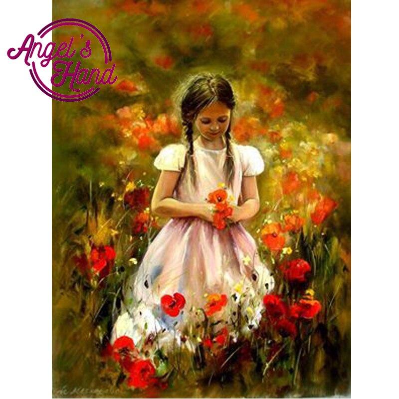 ANGEL'S RĘCZNIE 5D DIY Dziewczyna czerwony kwiat Hafty Diament placu Rhinestone Zestawy 5D Diament Malarstwo Cross Stitch
