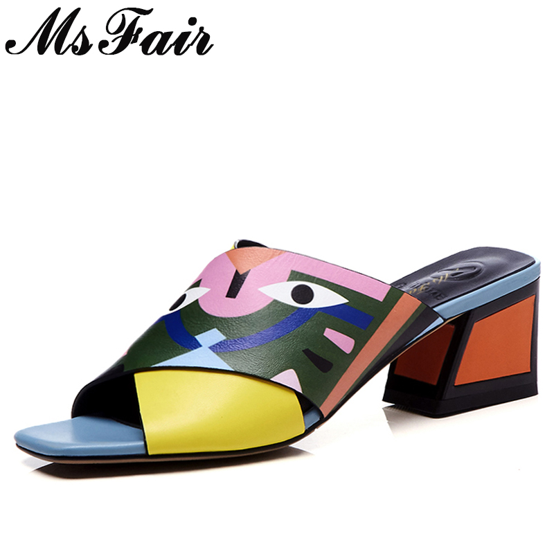 MsFair Square Toe Square heel Women Sandals Fashion Elegant Ladies High Heel Sandals 2018 Summer Mixed Colors Sandalias Mujer miquinha red metal leaf decoration open toe mixed color cover heel women fashion thin heel super high casual sandalias mujer
