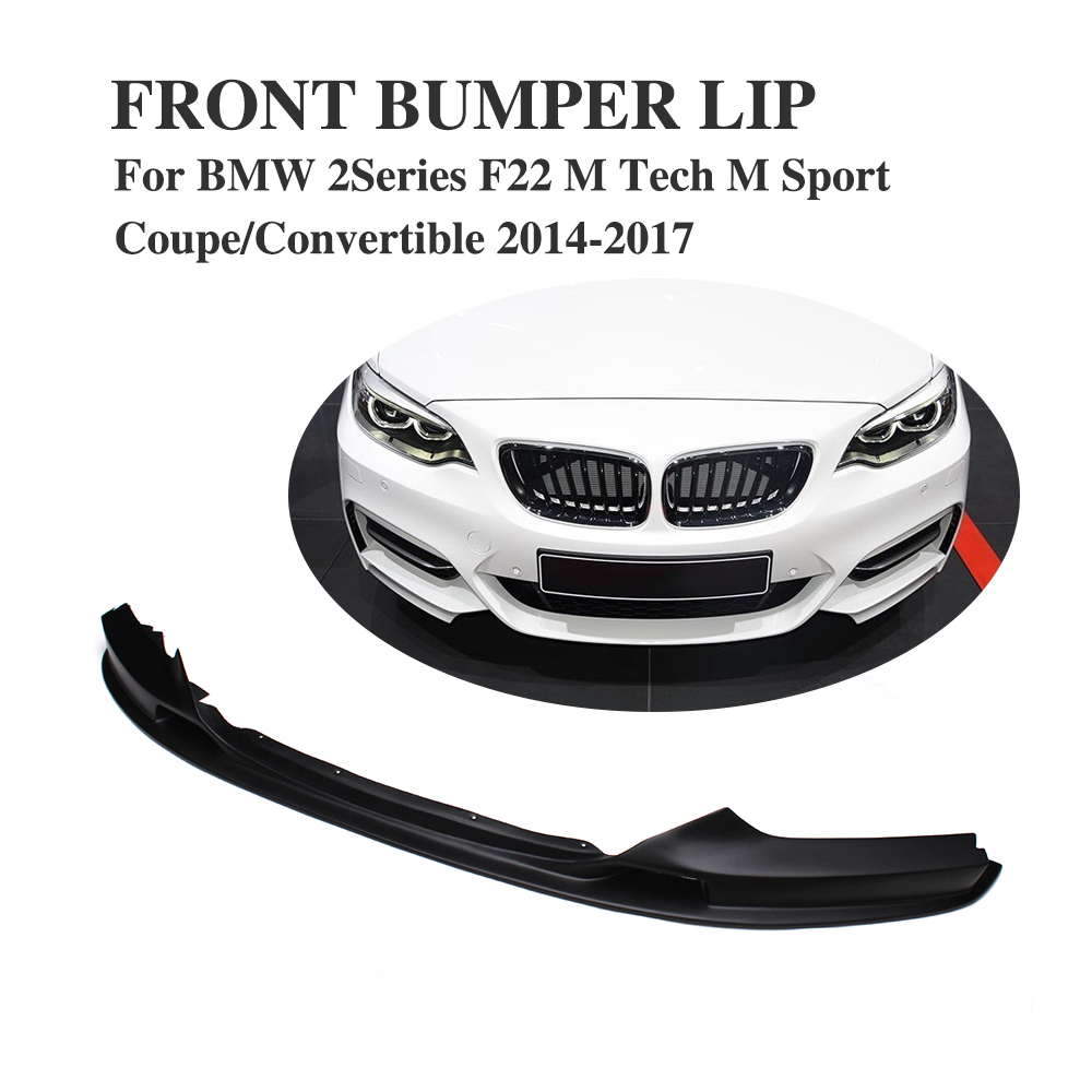 FRP Black Front Bumper Lip Chin Spoiler Apron for BMW 2Series F22 M Sport Coupe Convertible 2014-2017 Car Tuning Parts я учусь читать и писать прописи наклейки
