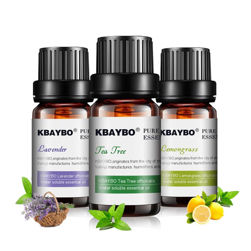 huiles essentielles de lavande, arbre à thé et citronnelle, aromathérapie