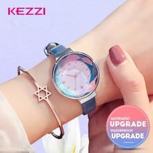 KEZZI модные женские туфли часы роскошные часы с кристаллами дамы кварцевые наручные часы Relojes Mujer 2018 для женщин со стразами синий кожаный