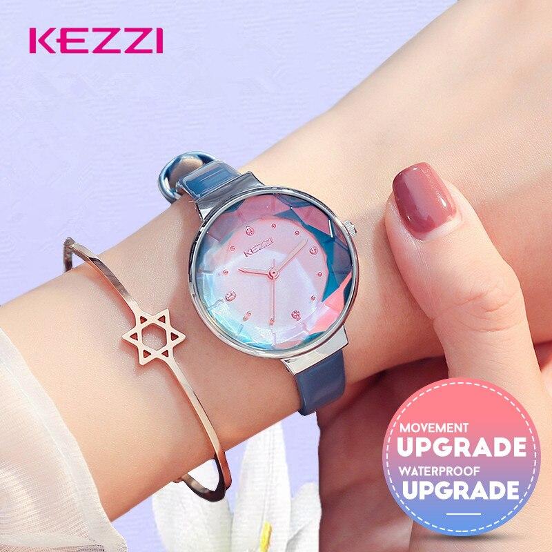 KEZZI moda Mujer Relojes de diamantes de lujo reloj de cuarzo reloj de pulsera Relojes Mujer 2018 mujeres Diamante de imitación reloj de cuero azul