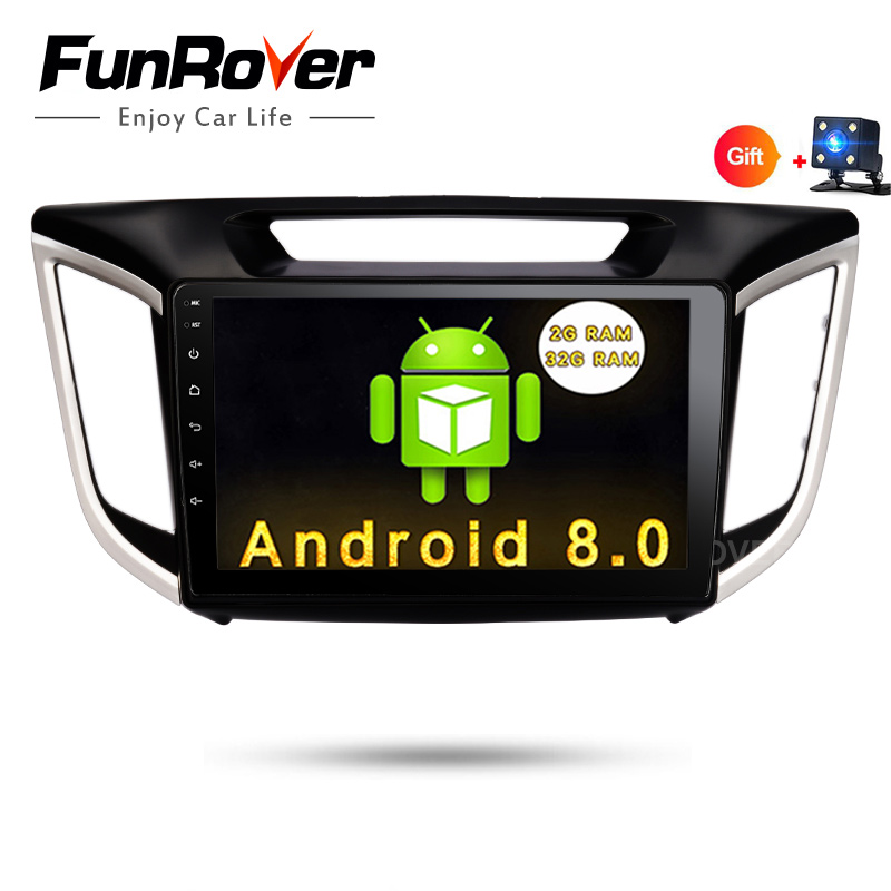 "FUNROVER HD 10.1"" Android 8.0 2 din CAR Audio DVD player for Hyundai ix25 Creta gps Multimedia BT WIFI radio tape recorder usb"