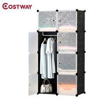 COSTWAY DIY портативный простой складной шкаф собраны смолы пластиковый шкаф для хранения Организатор W0238