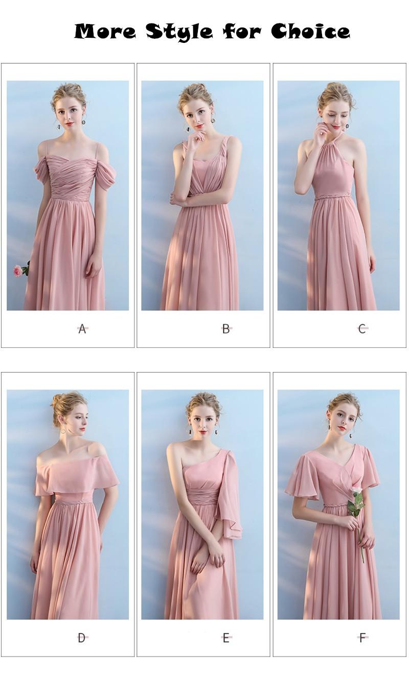 Elegant Pink Sleeveless Off Shoulder Long Bridesmaid Dress