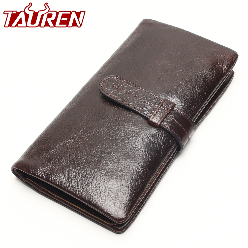 Classic Long Wallet 100% Top Genuine Oil Wax Cowhide Leather Long Bifold Wallets Purse Vintage Designer Coin Purse new luxury brand 100% top genuine cowhide leather high quality men long wallet coin purse vintage designer male carteira wallets