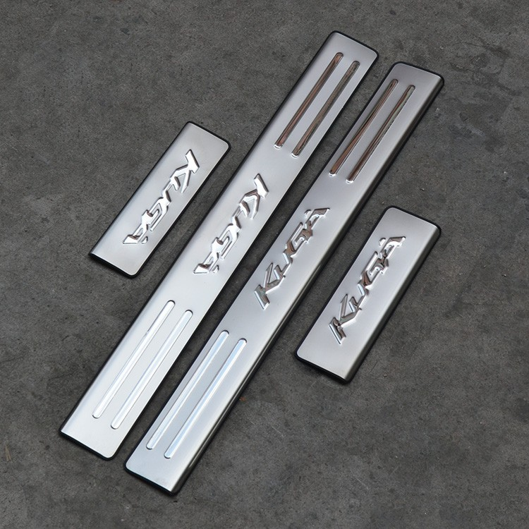 Car accessories Stainless Steel Side Door Scuff Plate Door Sill Trim Fit For Ford Kuga Escape 2012 2013 2014 2015 2016 2017 stainless steel led scuff plate door outside sills trim car accessories welcome pedal for ford kuga 2013 2014