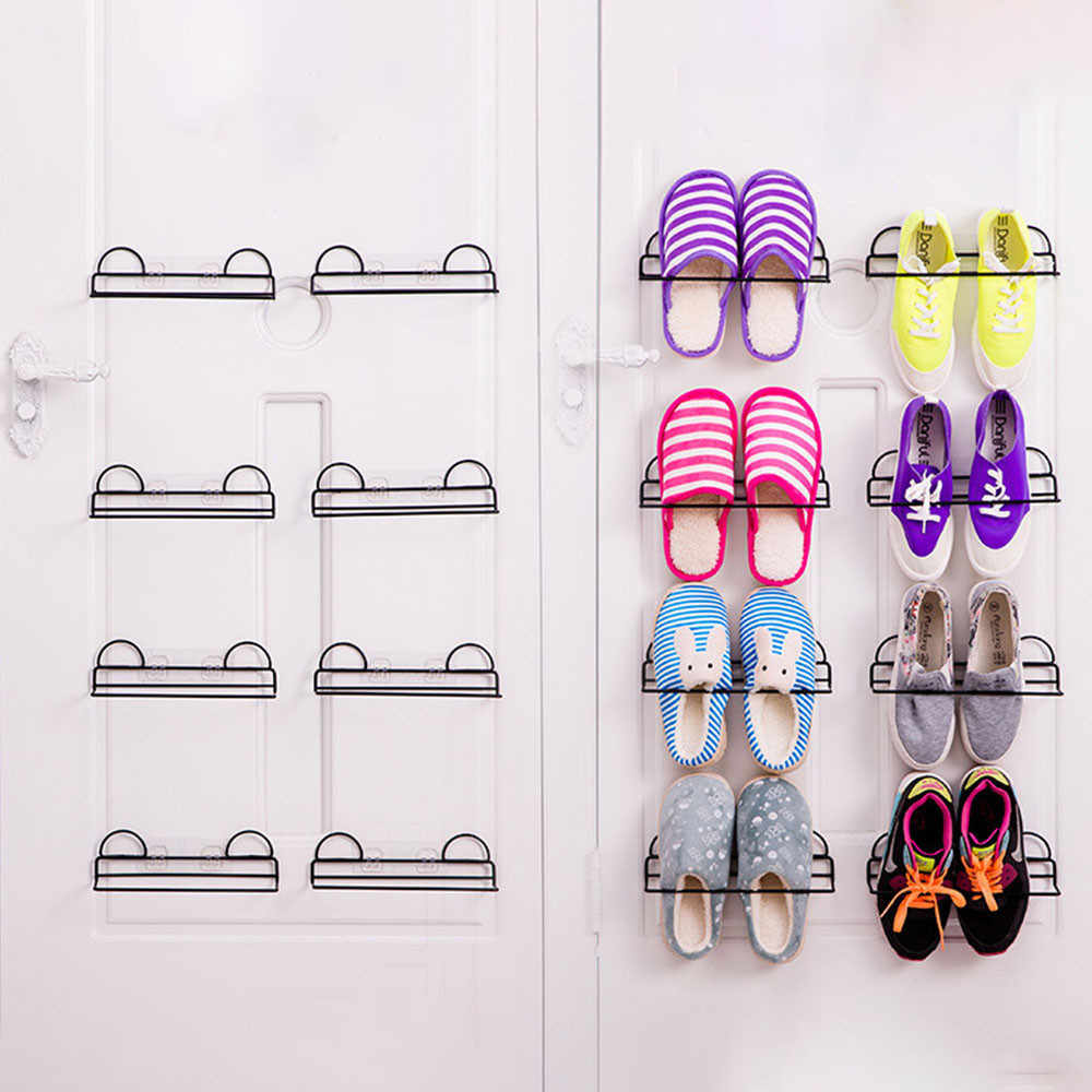 New Shoe Rack Practical Metal Free Holes Wall Mount Shoe Rack Slipper Shelf Storage Organizer for Home Bathroom Shower Room