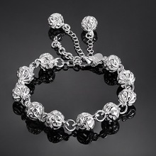 Women's Elegant Silver-colored Link Bracelet with Ball Shaped Elements