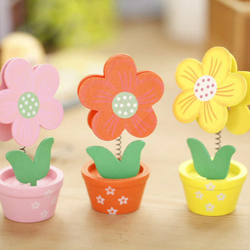 Creative Small Pot Wooden Stickers Clip Card Clip Wholesale Flower Modeling Decorative Wooden Small Gifts Holder Organizer