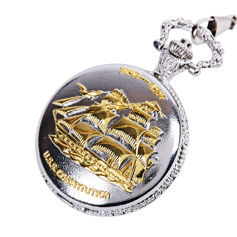 Retro Silver Large-scale Thick-chain Sailing Boat Smooth Sailing Pocket Watch Classical Nostalgic Embossing Sailing Pocket Watch