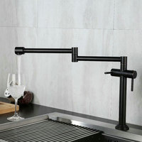 Kitchen Faucet Solid Brass Swivel Crane Kitchen Deck Mounted Foldable Sink Faucet Mixer Nickel Brushed/Black/Chrome/Gold/ORB