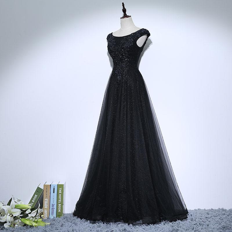 Vintage Negru Mama Rochii de mireasa Aplicatii Margele O linie de - Rochii de seară de nuntă - Fotografie 3