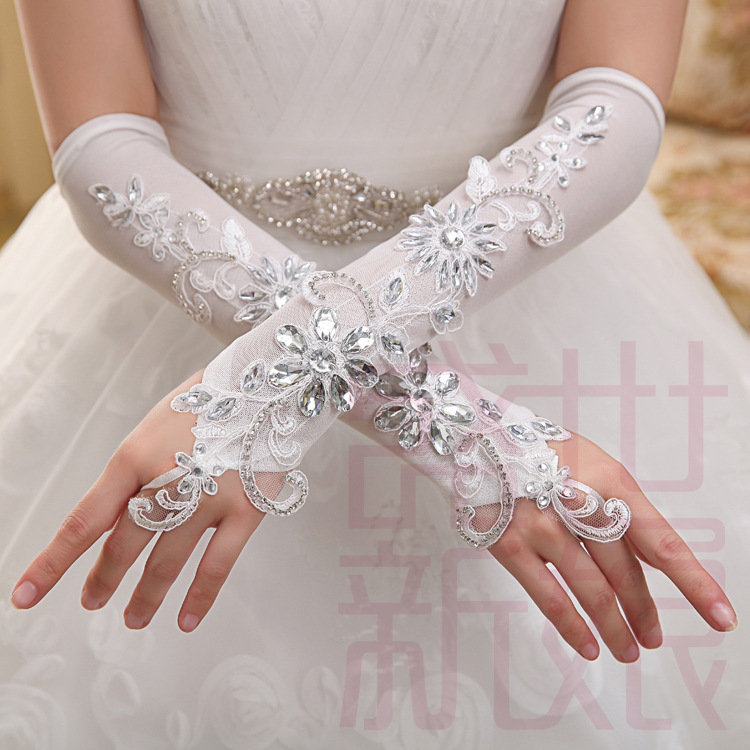 Elegant Gorgeous Ivory Elbow Length Lace crystal Fingerless Appliqued Bridal Gloves Long Wedding Gloves 2015