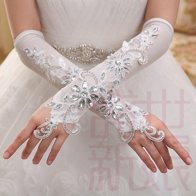 Elegante lindo marfim cotovelo luvas de casamento luvas de dedos de cristal Appliqued