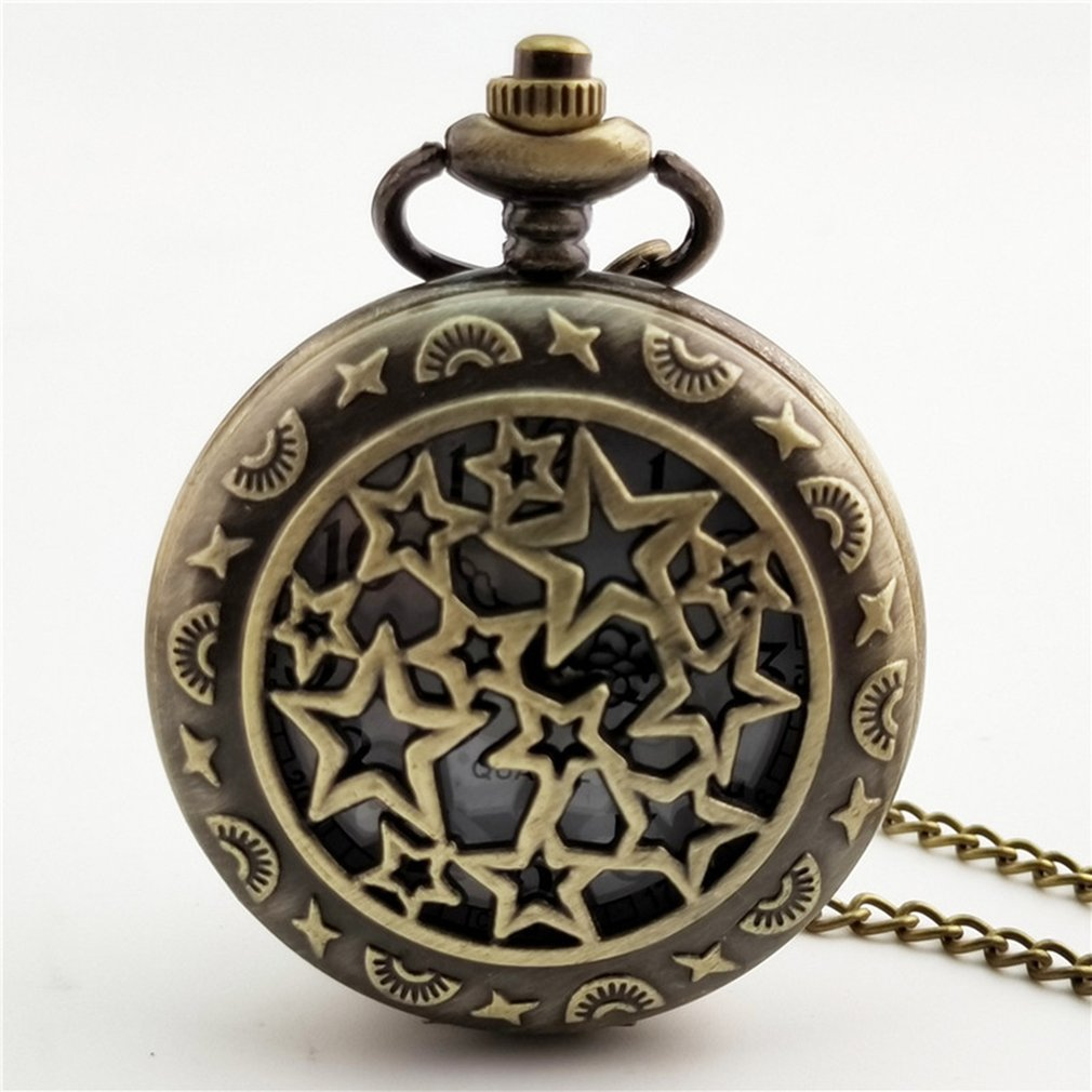 <font><b>Big</b></font> Star Carved Steampunk Pocket <font><b>Watch</b></font> Vintage Antique Round Dial Quartz <font><b>Watch</b></font> Chain Necklace Pendant Clock for Mens Womens image