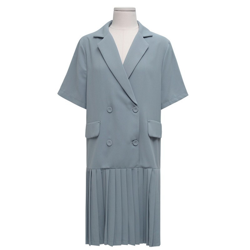 Loose Casual Dress Women Summer 2019 Fashion Blue Korea Style Dress Blazer Ladies Button Straight Bohiday Midi Dresses For Women in Dresses from Women 39 s Clothing