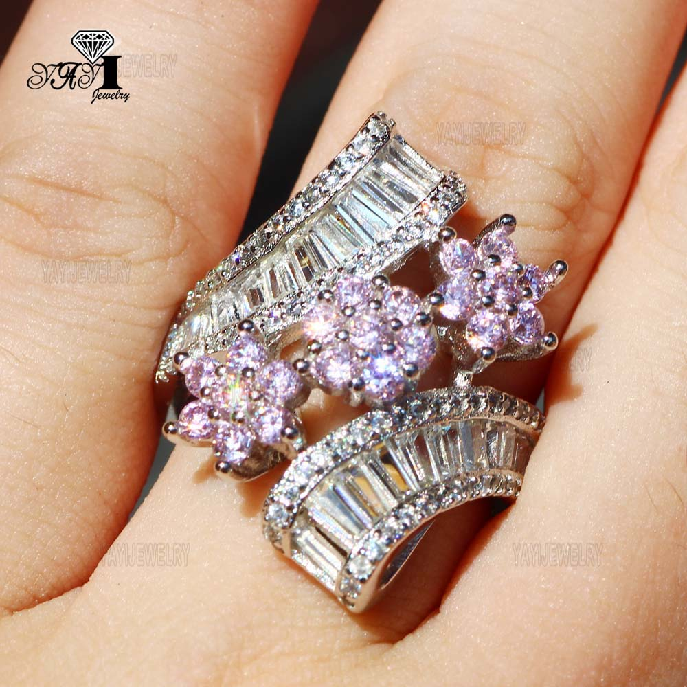 Yayi Schmuck Prinzessin Cut 7,4 Ct Rosa Zirkon Silber Farbe Verlobungsringe Hochzeit Herz Ringe Mädchen Partei Ringe Geschenke 838 Schmuck & Zubehör